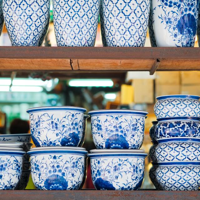 """Porcelain China ware from chatujak weekend market, bangkok"" stock image"