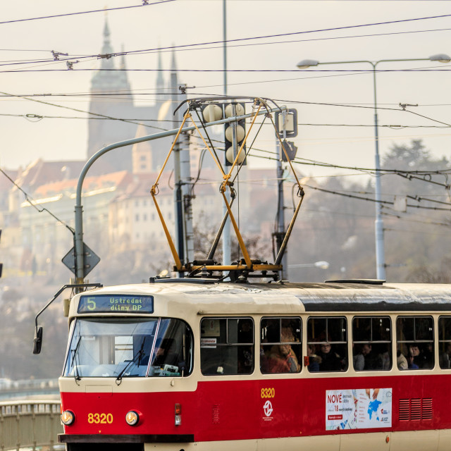"""Tram in front of Prague Castle"" stock image"