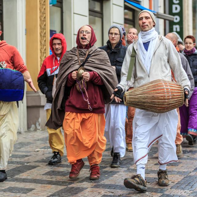 """Hare Krisha group singing and dancing in Prague"" stock image"