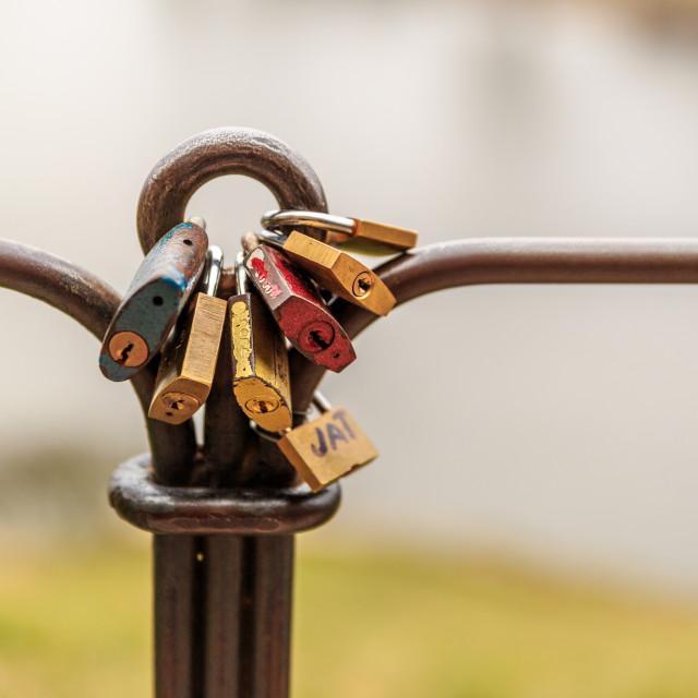 """""""Locks of love in Prague"""" stock image"""