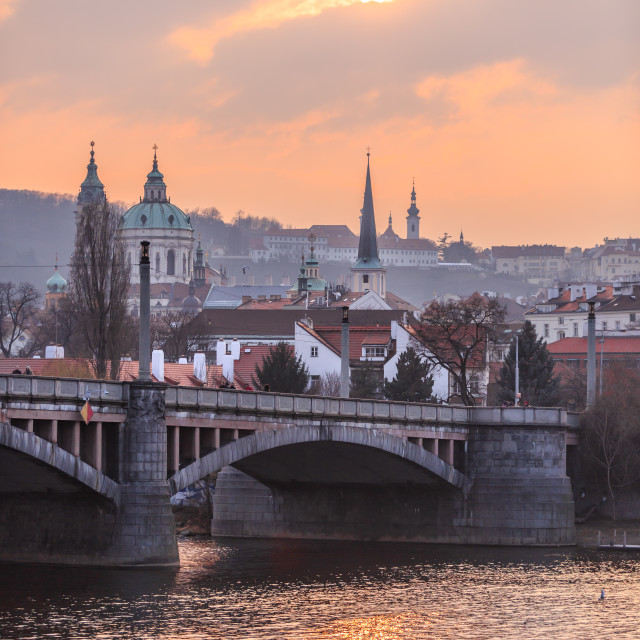 """Sunset by the Vltava River in Prague"" stock image"