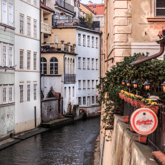 """Street off Charles Bridge in Prague"" stock image"