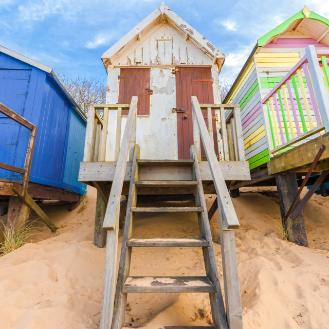 """weathered beach hut"" stock image"