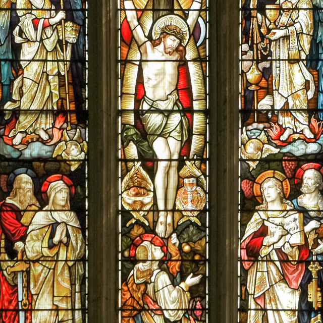 """""""stained glass crucifixion"""" stock image"""