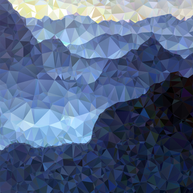 """Low poly view of a mountain landscape"" stock image"