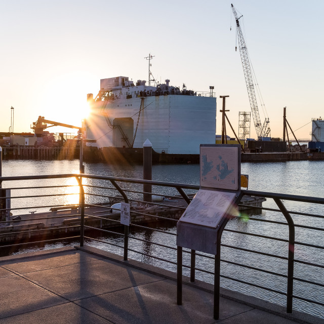 """""""ferry terminal at sunset"""" stock image"""