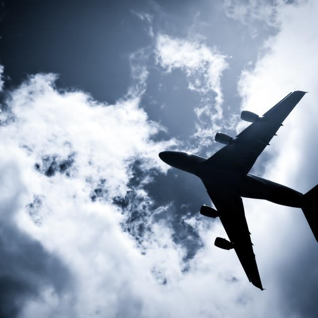 """passenger jet silhouette"" stock image"