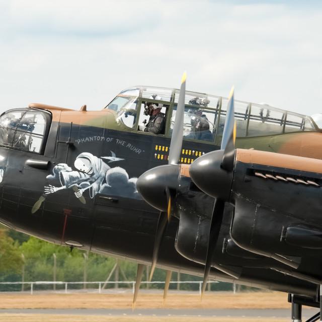 """""""Lancaster bomber closeup"""" stock image"""