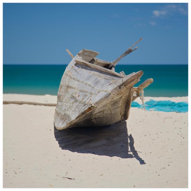 """Madagascar Beach Canoe"" stock image"