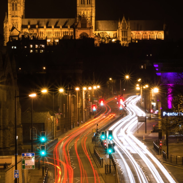 """Lincoln Cathedral at night"" stock image"