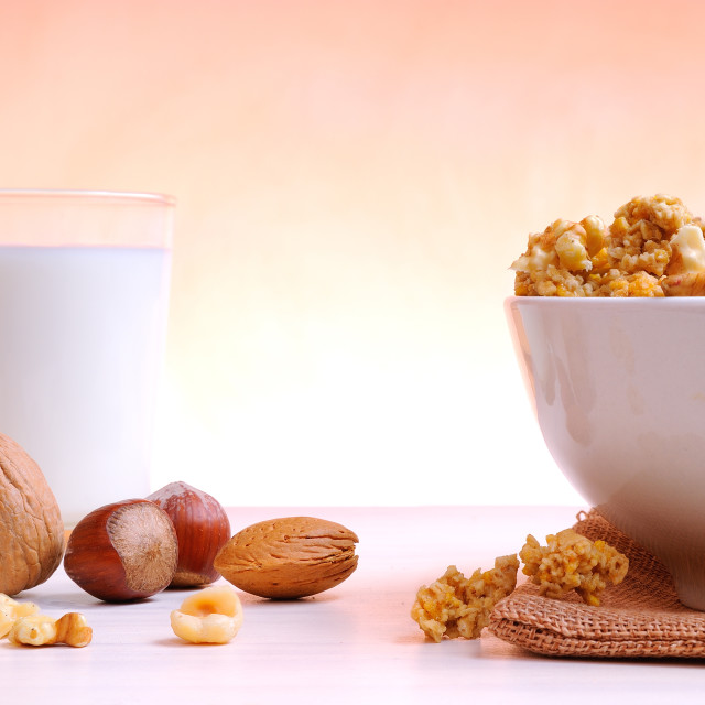 """""""Bowl full of cereal with dried fruits"""" stock image"""
