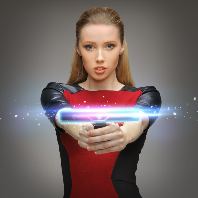 """""""futuristic woman with gadget"""" stock image"""
