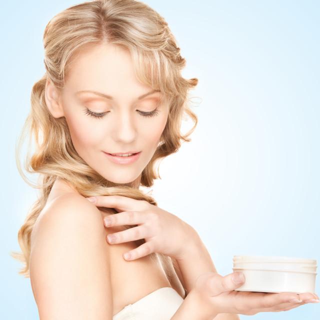 """""""beautiful woman with moisturizing creme"""" stock image"""