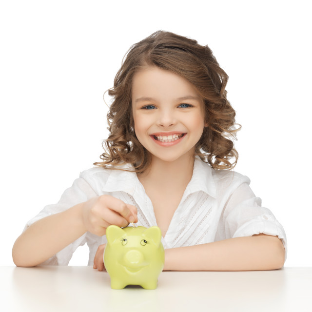 """""""girl with piggy bank"""" stock image"""