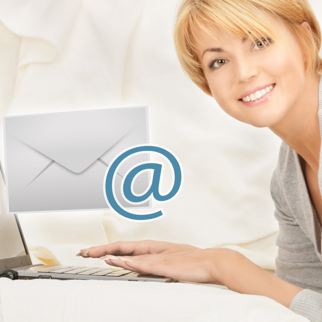 """""""woman with laptop computer sending e-mail"""" stock image"""