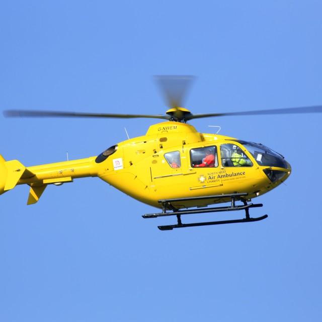 """Air Ambulance returns to Base"" stock image"