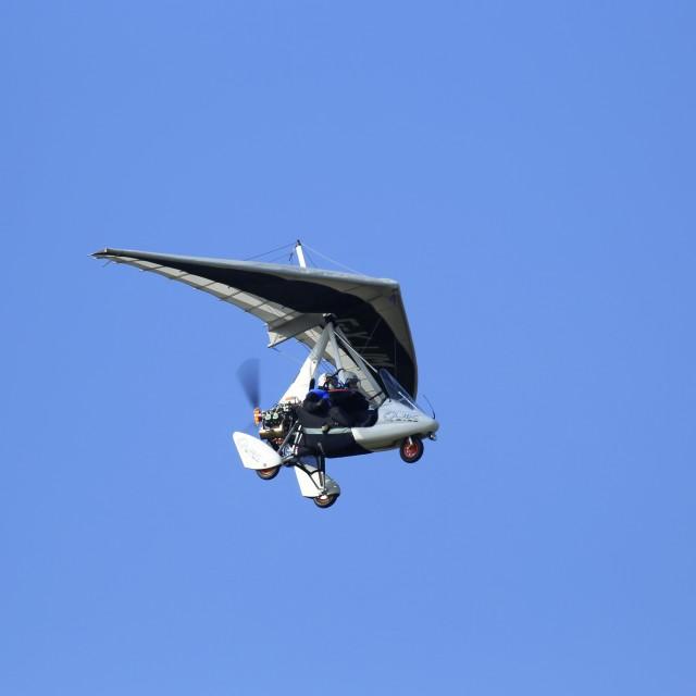 """Microlight landing at Barton"" stock image"