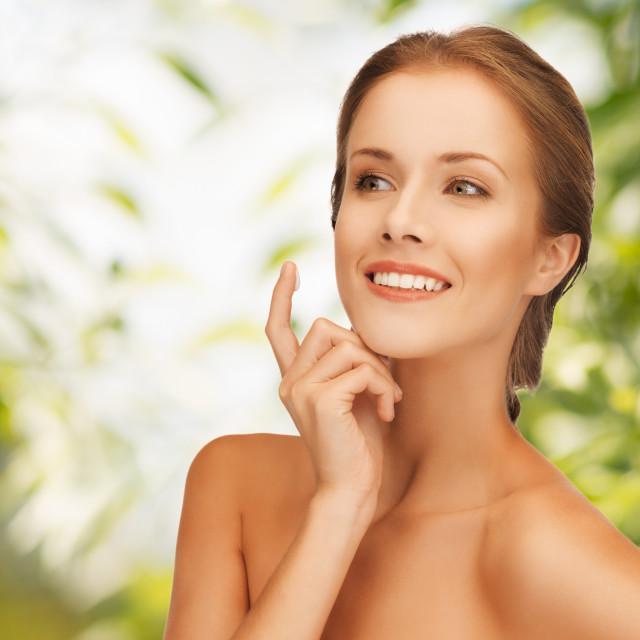 """beautiful woman with moisturizing creme drop"" stock image"