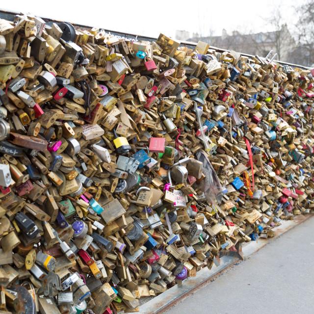 """Love padlocks on the bridge Pont des Arts"" stock image"