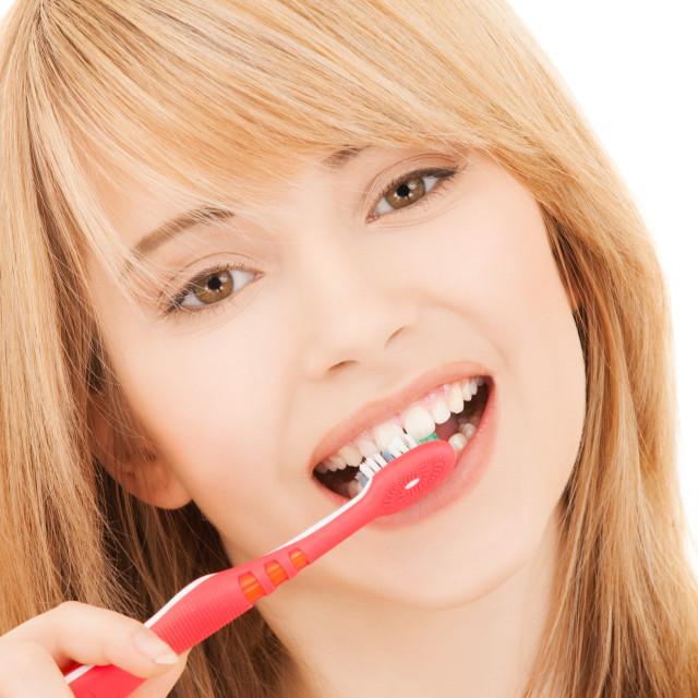 """""""teenage girl with toothbrush"""" stock image"""