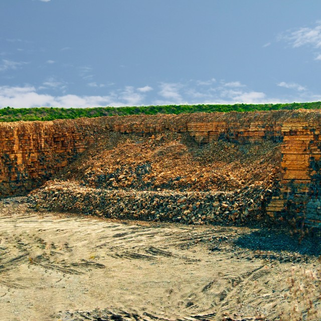 """Stone quarry in the village of Aberthaw in South Wales, UK, Euro"" stock image"
