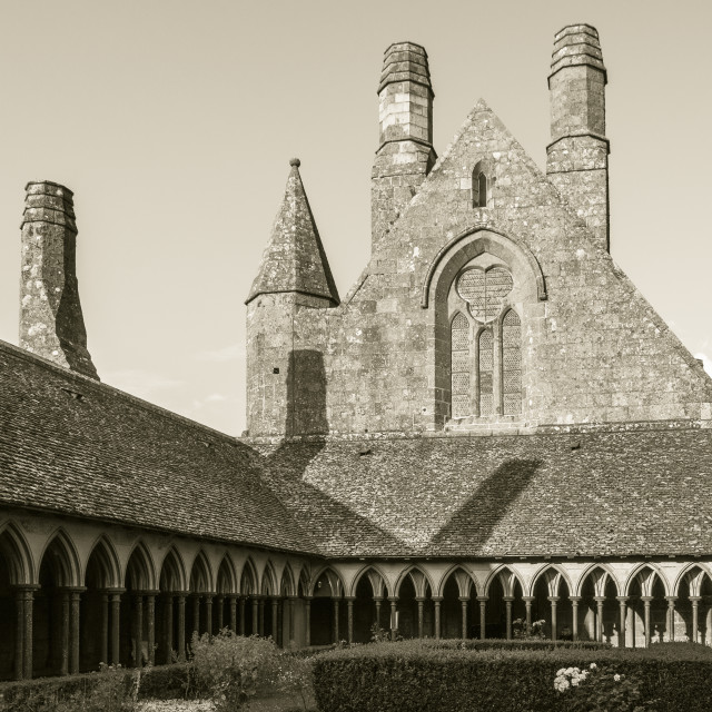 """Cloister in Mont Saint Michel"" stock image"