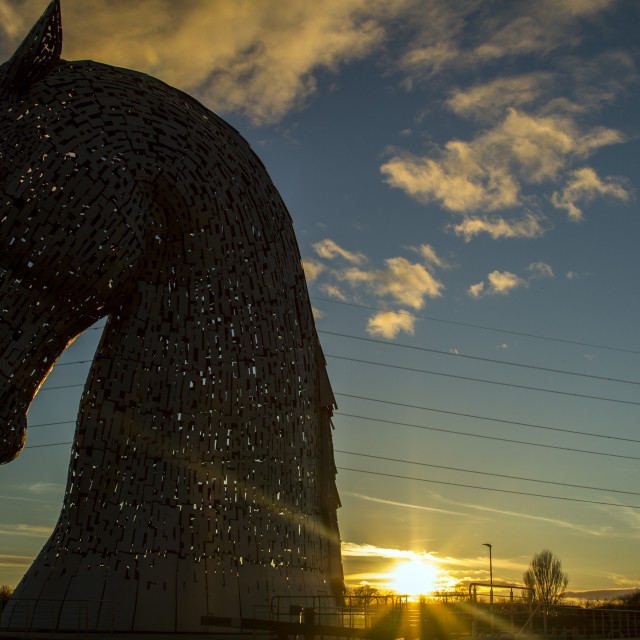 """Sunset at the Kelpies"" stock image"