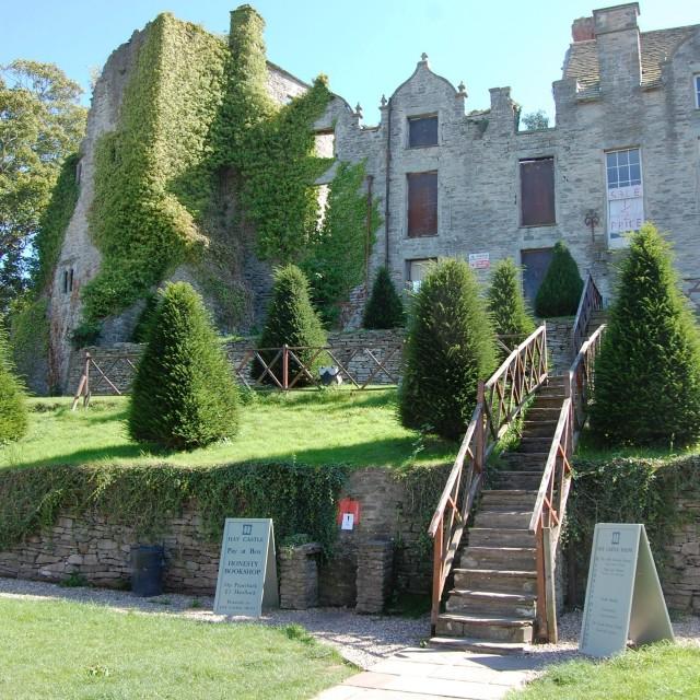 """Ruined castle & manor, Hay-on-Wye"" stock image"