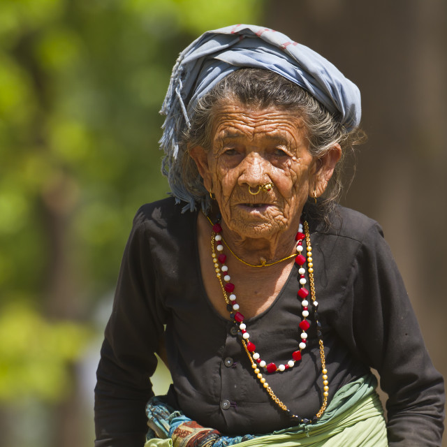 """Very old tharu woman in Bardia, Nepal"" stock image"