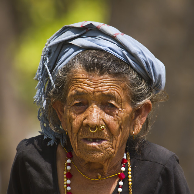 """Portrait of very old tharu woman in Bardia, Nepal"" stock image"