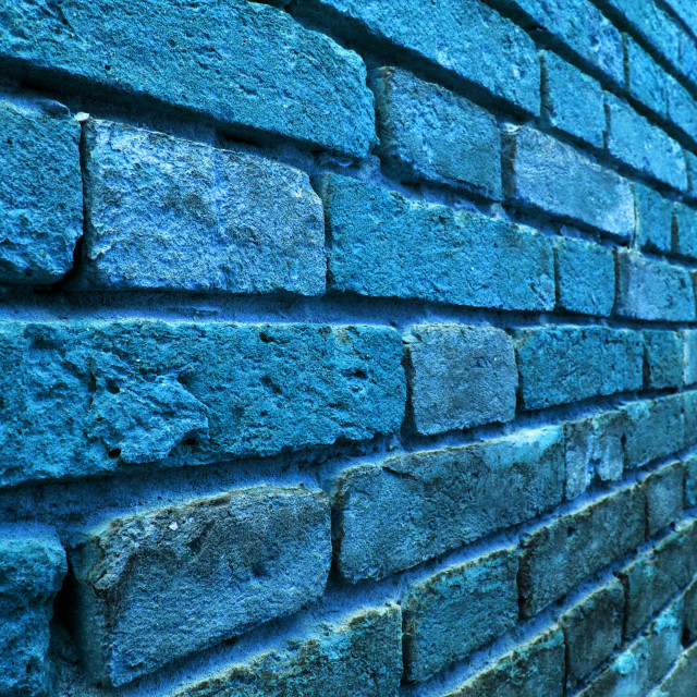 """Perspective view of a blue wall"" stock image"