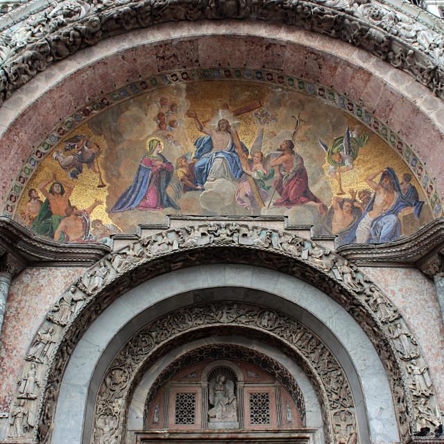 """Mosaic at the entrances of the St. Mark Basilica, Venice"" stock image"
