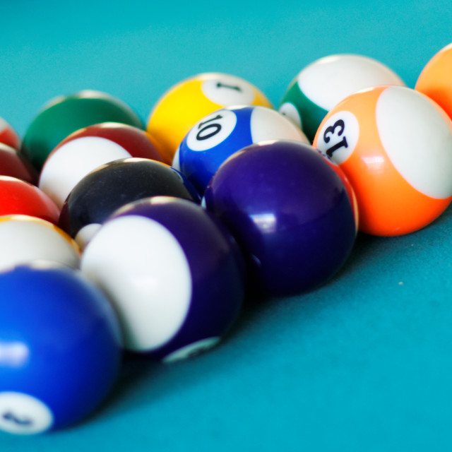 """Pool balls racked in triangle"" stock image"