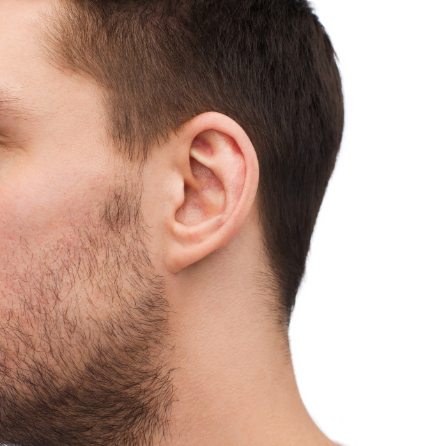 """""""close up of male ear"""" stock image"""