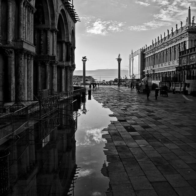 """St. Mark's Square in Venice in black and white"" stock image"