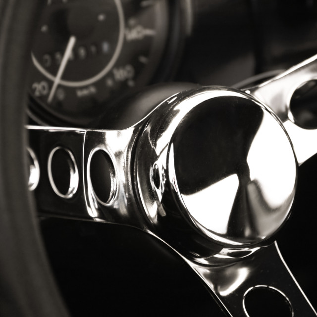 """chromed steering wheel"" stock image"