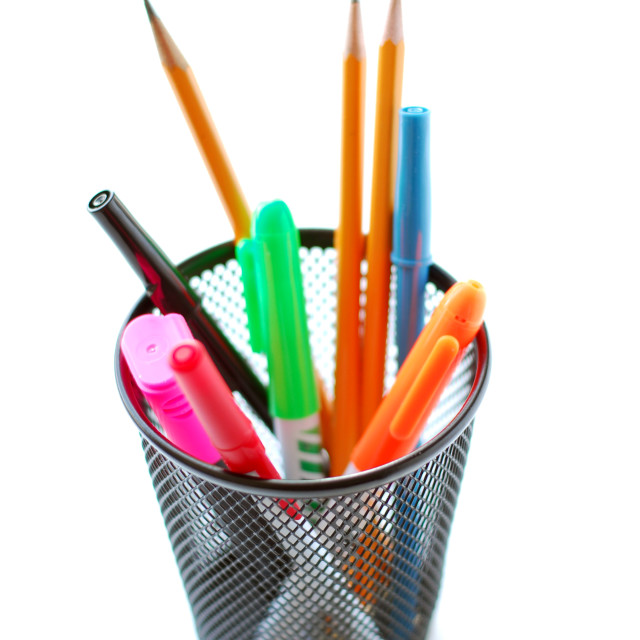 """""""Pens and pencils in pencil holder"""" stock image"""
