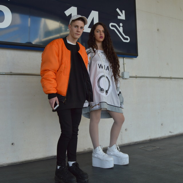 """""""Street Style Young cyber couple"""" stock image"""