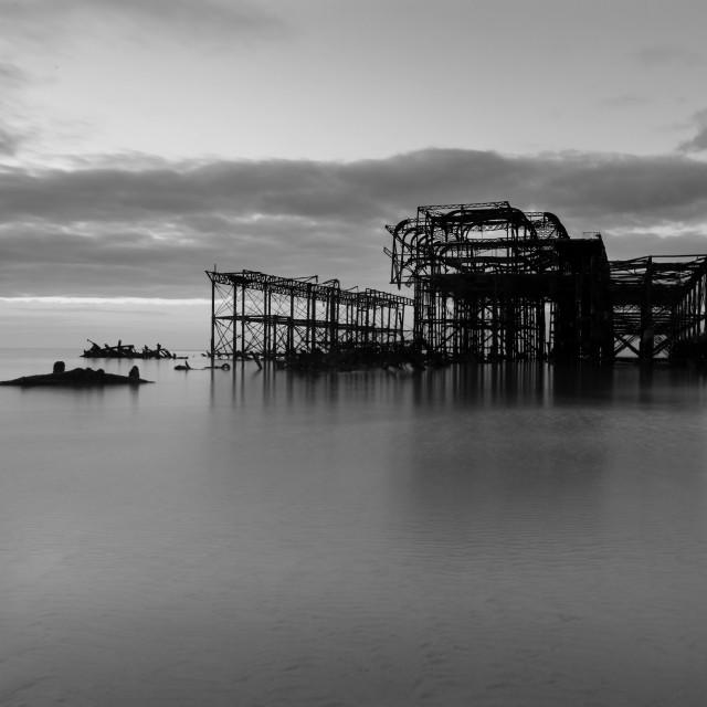 """Sunrise on Brighton Beach"" stock image"