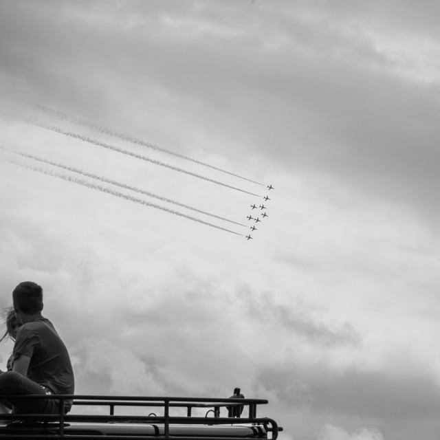 """Children watching the Red Arrows"" stock image"