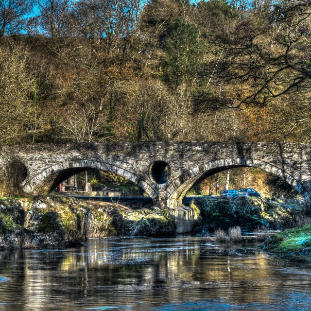 """Bridge over the Teifi river at Cenarth"" stock image"