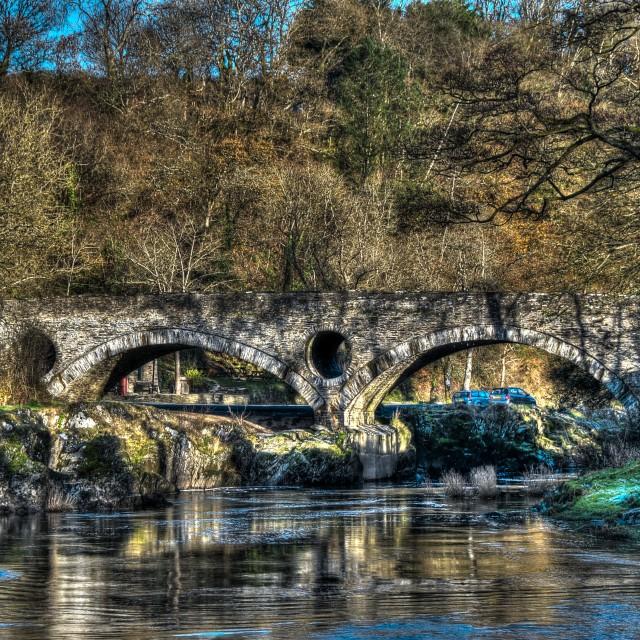 """Bridge over the Teifi river at Cenarth"" stock image"