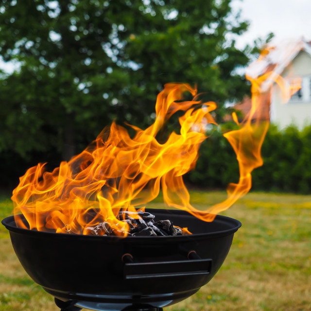 """""""Hugh flame on a grill with charcoal on green lawn"""" stock image"""