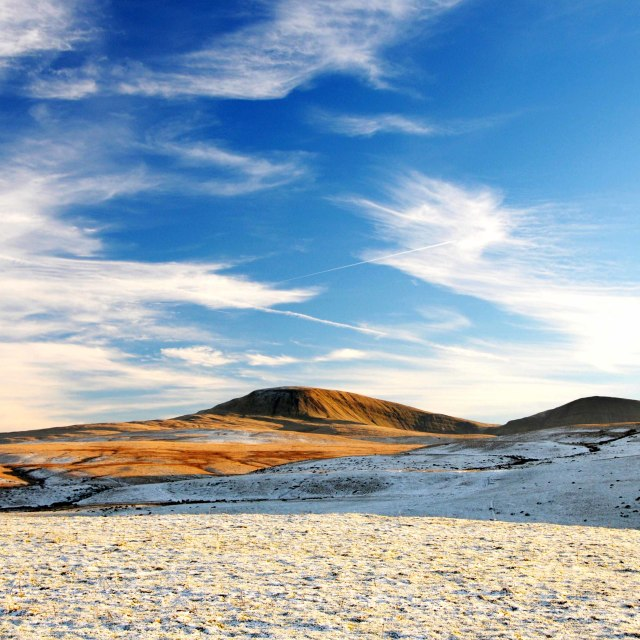 """Snow covered mountain in south Wales"" stock image"