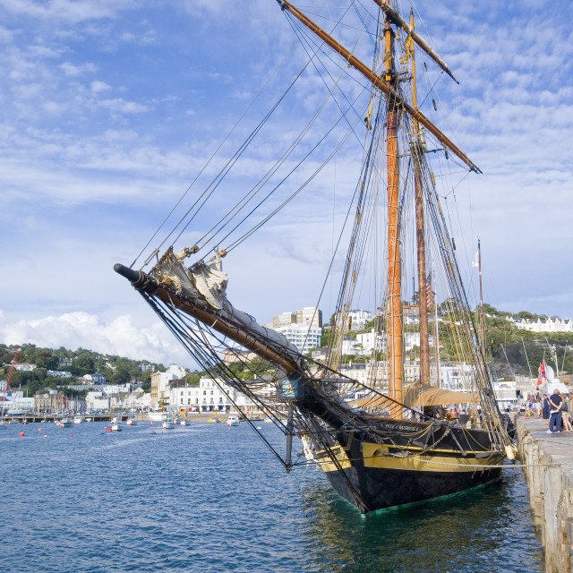 """Tall Ship in Harbour - Torquay"" stock image"