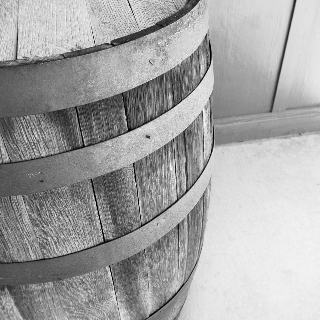"""BW Wood Barrel"" stock image"