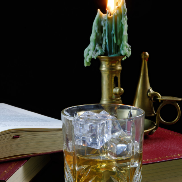 """Whisky and Antique Candlestick"" stock image"