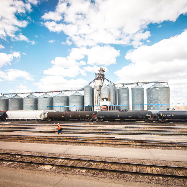 """Grain Silos & Rail Lines in USA"" stock image"