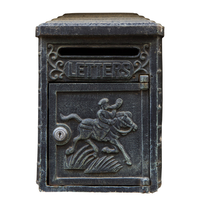 """Black Vintage Letterbox on white"" stock image"