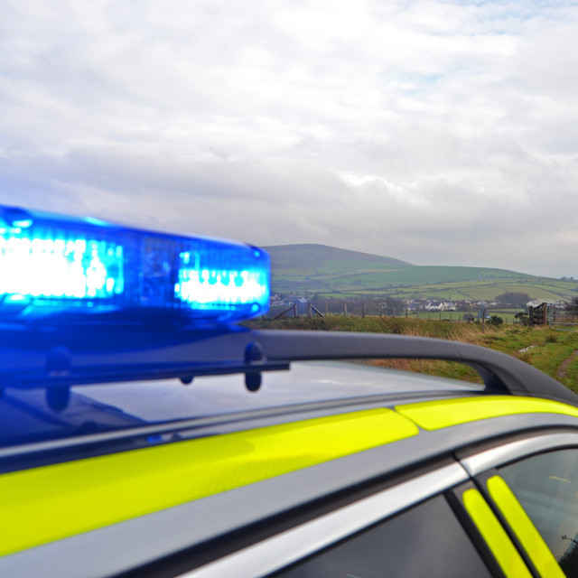 """Blue Light RRV on Welsh Hills"" stock image"